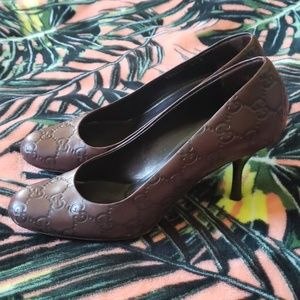 GUCCI Brown Leather Heels Size 6 1/2